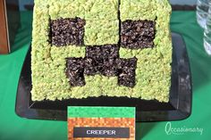 Love this Rice Krispie treat creeper at a Minecraft party!  See more party ideas at CatchMyParty.com!  #partyideas #minecraft