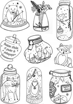 Clear stamps 'Miss Créa Autumn Winter' season jars La Fourmi creative Christmas Doodles, Christmas Drawing, Christmas Art, Doodle Drawings, Doodle Art, Toddler Crafts, Preschool Crafts, Colouring Pages, Coloring Books
