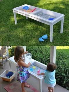 sand and water table with removable Tupperware bins