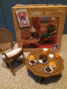 Vintage Retro Sindy Doll Lounge Set Rocking Chair Coffee Table Tea Set Food  In Dolls U0026