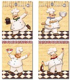 Fat Chef Kitchen Decor, Kitchen Themes, Kitchen Art, Kitchen Store, Minion Hats, Rooster Painting, Arte Country, Napkin Decoupage, Home Decor Sets