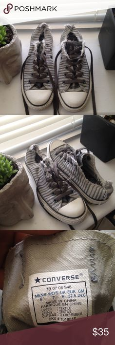 🆕One Star Converse Sneakers Super cute One Star Converse! They're dark gray and light gray striped with white and gray soles/ gray shoe laces. I used to be in love with these shoes I just didn't get many opportunities to wear them! They have probably been worn less than 5 times so they're in almost new condition! There's a few small scuffs on them but they're barely noticeable/ can be buffed out. They have a frayed look (came that way). Size women's 7/ men's 5. Let me know if you have any…
