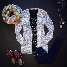 I want it, I need it, I love it! That's our closet-filling motto! We're falling in love with these #casual must-haves.  #SS15 #spring #ootd #flatlay #eclipsestyle #aztec #infinityscarf #sneakers #denim #longnecklace