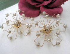 Atomic Earrings Pearl Rhinestone Wire Mid by VintagObsessions