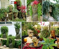 How To Make Concrete Head Planters For Your Garden