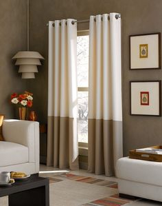 CHF Kendall Window Treatment Collection - Curtains & Drapes - For The Home - steve office Grommet Curtains, Drapes Curtains, Curtain Panels, Color Block Curtains, Black Out Curtains Bedroom, Window Treatments Living Room Curtains, Neutral Curtains, Curtain Hanging, Light Blocking Curtains