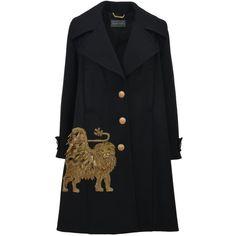 Black Embroidered Coat (13 375 SEK) ❤ liked on Polyvore featuring outerwear, coats, black, embroidered coats, alberta ferretti coat, lion coat, metallic coat and maxi coat
