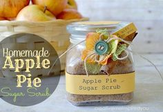 I created this simple to make Homemade Apple Pie Sugar Scrub, for it's exfoliation and rejuvenating qualities, plus it smells divine! Sugar scrub, spa, health, skin health, homemade, handmade, exfoliating, apple pie, sugar, lip scrub, hand scrub, personal care, bathroom, gift, fall, autumn, scented, divine, edible, home spa, soap, lotion, coconut oil,