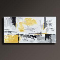 """48"""" grande Original pintura ABSTRACTA sobre lienzo contemporáneo moderno arte blanco GRIS NEGRO AMARILLO pared decoración Home Decor - sin estirar - YG07i4 por itarts"""