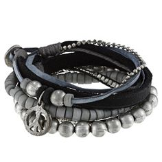 @Overstock - This multi-layered 'Berit' bracelet features strands of silvertone beads along with black and blue leather bands and ball chains, accentuated by a peace sign charm. This bracelet includes button closure for comfortable wear.http://www.overstock.com/Jewelry-Watches/Silvertone-and-Leather-Band-Berit-Peace-Charm-Bracelet/6695994/product.html?CID=214117 $28.49