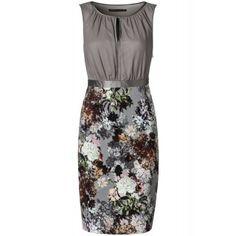 Pencil jurk met bloemenrok Grijs