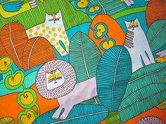 "Vintage Cotton Fabric 60s70s Waverly ""Jungle Book"" NOVELTY 45w 2yds"