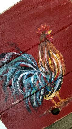 Made to Order. The sign will be hand painted. This Colorful Rooster is painted on a deep red and distressed background.  This is three rustic