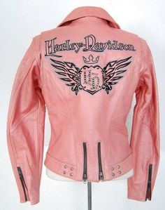 Harley Davidson Jacket Women M Medium Pink Leather Biker Motor Cycle Queen Hot in Clothing, Shoes & Accessories, Women's Clothing, Coats & Jackets | eBay