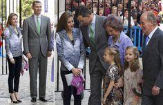 Los Reyes, los príncipes de Asturias con sus hijas y la infanta Elena asisten a la misa de Pascua en Palma