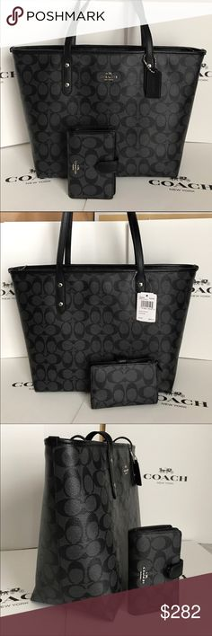 🍀Coach Set🍀 100% Authentic Coach Tote Bag and Wallet, both brand new with tag!😍😍😍 Coach Bags Totes