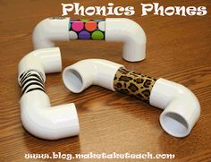 Phonics Phones with PVC pipe and decorative duct tape.  Helps students pay attention to individual sounds/phonemic awareness.