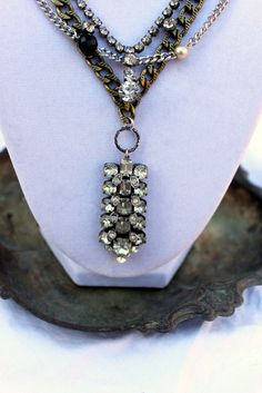 Vintage Rhinestone, Onyx, glass Pearls and Antiqued Brass necklace!