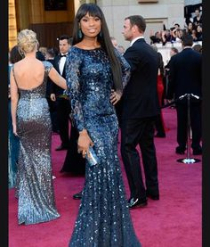 Jennifer Hudson in Roberto Cavalli (Oscars Jennifer Hudson, Party Dresses With Sleeves, Nice Dresses, Oscar Fashion, Runway Fashion, Roberto Cavalli, Looks Street Style, Beauty Magazine, High End Fashion