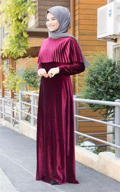 Pelerinli Kadife Elbise - Bordo - B1720B