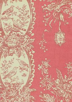 Les Oiseaux Wallpaper Raspberry and cream bird and floral wallpaper