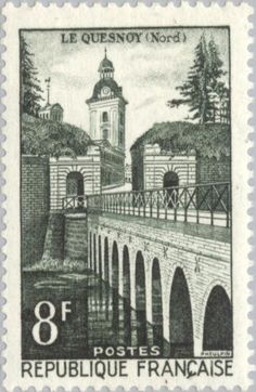 Issued in France - Le Quesnoy Rare Stamps, Old Stamps, Vintage Stamps, Monuments, Roubaix, Postage Stamp Art, Historical Architecture, Sale Poster, Mail Art