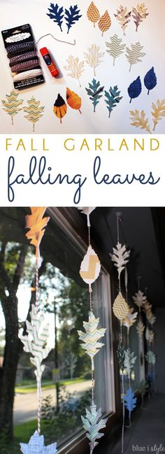 Create a simple garland of falling leaves to display in a window or anywhere that you want to add a simple touch of autumn decor.