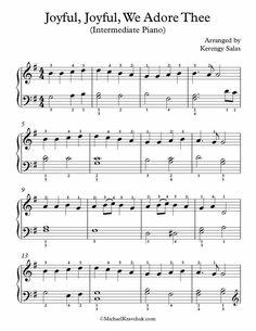 Intermediate Piano Arrangement Sheet Music – Joyful, Joyful, We Adore Thee Free Sheet Music, Piano Sheet Music, Free Piano, Church Music, Piano Teaching, Music Theory, Choir, Joyful, Violin