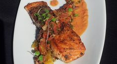 Paleo Salmon with Orange, Pecan and Pepper Relish, PureWow (salmon, cilantro, cayenne, cumin, oil, orange, tomatoes, bell pepper, jalapeno, pecans, ginger, garlic, lime juice)
