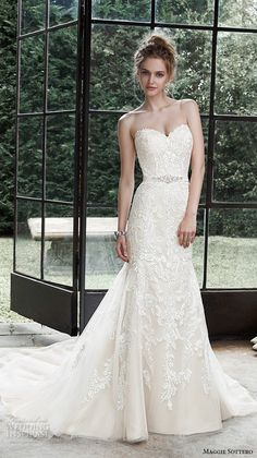 Top 100 Most Popular #Wedding Dresses in 2015 #Bridal maggie sottero fall 2015 wedding dresses beautiful elegant fit flare gown strapless sweetheart neckline embroidered winstyn