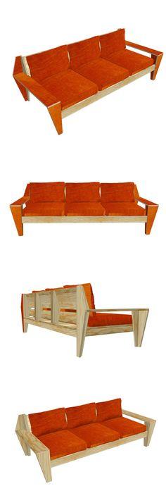 DIY plans for outdoor / garden lounge-couch-sofa 'Leon' by NeoEko Dutch Design. | Bouwtekeningen voor tuinbank \ lounge bank 'Leon'. Outdoor Seating, Outdoor Sofa, Wooden Couch, Diy Couch, Sofa Bench, Diy Furniture Plans, Wood Working, Pallets, Sofas