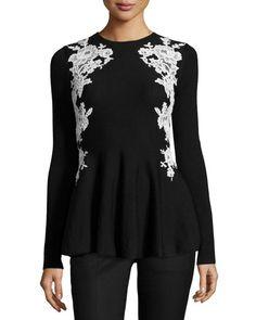 Lace-Trim Knit Peplum Sweater, Black/White