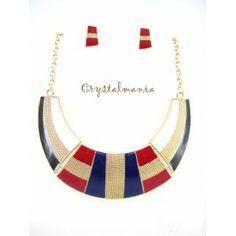 Set de collar y artes en tono negro, rojo, blanco, azul y dorado estilo 3033