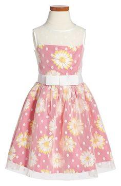 Us Angels Sleeveless Floral Print Illusion Dress (Toddler Girls, Little Girls…