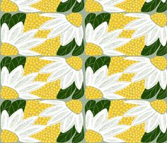 """Art Deco Woodcut Daisies"" fabric by Muddyfoot"