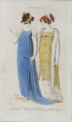 I love the yellow dress! English fashion plates from and French fashion plates from Year 9 of the French Republican Calendar. All images come from the collection of the Bibliothèque des Arts Décoratifs. 1800s Fashion, Victorian Fashion, Vintage Fashion, Victorian Dresses, 1800s Dresses, Victorian Gothic, Gothic Lolita, Regency Dress, Regency Era