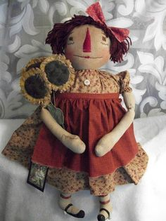 Primitive Raggedy Annie doll PATTERN  by Dumplinragamuffin on Etsy, $8.00