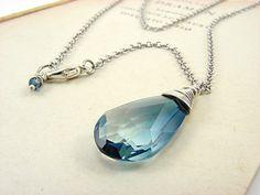 Blue and Crystal Clear Teardrop Swarovski by EnchantedAlchemy, $30.00