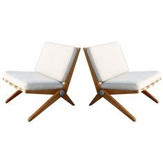 Pair Charlotte Perriand Le Corbusier Scissor Chairs, 1940.  Is this really Perriand??