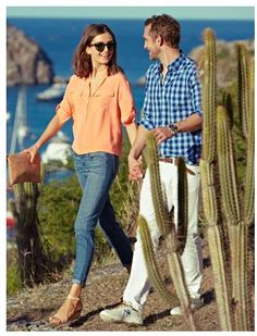 coral shirt, jeans, sandals - great for sightseeing. from j crew