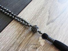108 Mala necklaceHematite 108 mala beadsHand by Laboratorio7Bijoux