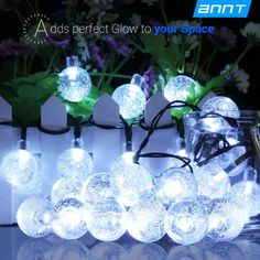 ANNT Solar Outdoor String Lights 20ft 30 LED White Crystal Ball Solar Powered Globe Fairy Lights for Garden Fence Path Landscape Decoration waterproof