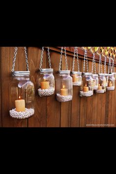 Lights on the fence line. glass jars can be reused in the future