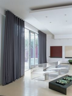 Wave curtains on patio doors Curtains For Bifold Doors, Sliding Door Blinds, Curtains With Blinds, Voile Curtains, S Wave Curtains, Blinds For Patio Doors, Contemporary Windows, Contemporary Curtains, Modern Curtains