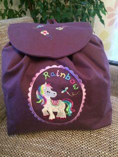 """Kinderrucksack """"Regenbogenpony"""" von siebenbruecki auf DaWanda.com"""