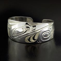 Kingfisher Sterling Silver Bracelet by Ernest Swanson, Haida. Hand-carved, x Ankle Bracelets, Jewelry Bracelets, Healing Bracelets, Bangles, Sterling Silver Bracelets, Silver Rings, Sea Glass Jewelry, Native American Jewelry, Turquoise Jewelry