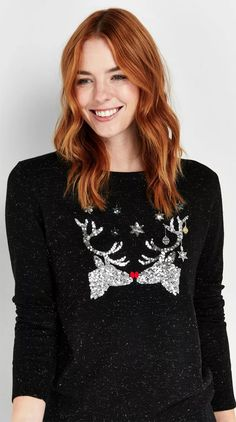 There are some that love to join in, and some that don't. Those that embrace the Christmas Sweater will wear the wackiest Jumper with flashing lights, tinsel, pom pom and tassels, while those that are more anti will need convincing just to wear a jumper adorned with a single snowflake. The Christmas sweater, once a TACKY gift you gave Dad in the 80's to force him to be grumpy all day while wearing Santa on his chest, is now a cool (ish) way to dress for Christmas. #christmas #christmasjumper Reindeer Christmas Jumper, Best Christmas Jumpers, Christmas Sweaters, Festive Jumpers, Knitwear, Winter Horse, Summer Winter, Winter Fashion Outfits, Friend Wedding