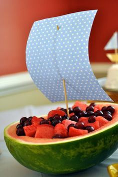 A sailboat birthday party Boat Birthday Parties, Pirate Birthday Cake, Birthday Party Themes, Birthday Ideas, 4th Birthday, Fruit Birthday, Birthday Quotes, Fruits For Kids, Kids Fruit