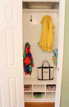 Small Coat Closet Ideas Through The Front Door: Entry Closet Remodel. Front Hall Closet, Entryway Closet, Entryway Ideas, Closet Mudroom, Rustic Closet, Entryway Cabinet, Closet Redo, Industrial Closet, Modern Closet