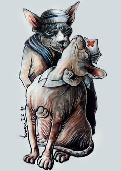 """""""1945"""". Un beso, Times Square, el final de una guerra y una fotografía que haría historia. Ahora la historia se repite con dos gatitos como protagonistas. Ilustración original de Vanesa Izquierdo."""